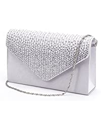 Women Evening Envelope Rhinestone Frosted Handbag Party Bridal Clutch Purse
