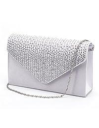 Nodykka Women Evening Envelope Rhinestone Frosted Handbag Party Bridal Clutch Purse
