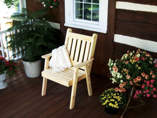 - Cedar Traditional English Dining Lawn Chair - Stained- Amish Made USA -Redwood