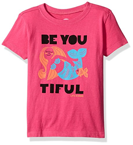 Life is Good Girls' Be You Mermaid Crusher Tee (Toddler), Bold Pink, 3T