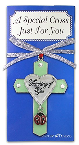 - BANBERRY DESIGNS Thinking of You Jeweled Ornament Cross with Ladybug Charm - Friendship - Love - Christmas