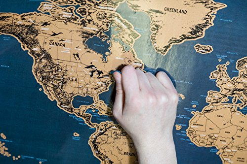 Scratch Off World Map Poster - with US States and Country Flags, Track Your Adventures. Includes Guitar Pick, Scratch Pen for smaller scratches and Magnifier, Perfect Gift for Travelers, By KILOJE