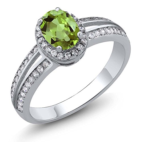 1.10 Ct Oval Natural Green Peridot Gemstone Birthstone 925 Sterling Silver Women's Ring (Available in size 5, 6, 7, 8, 9)