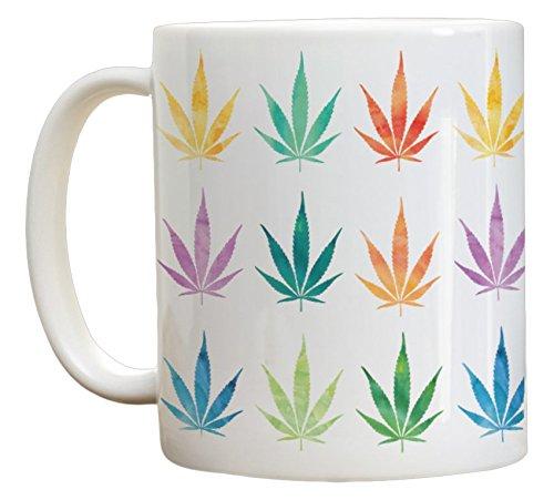 High Tide Mugs Marijuana Pot Leaf Weed Cannabis Ganja Colorful Watercolor Collage Coffee Mug, 11 oz