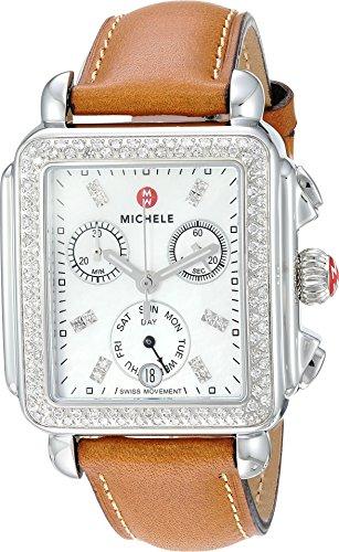 Michele Women's Deco Diamond, Diamond Dial Saddle Strap Watch Saddle/Silver One Size