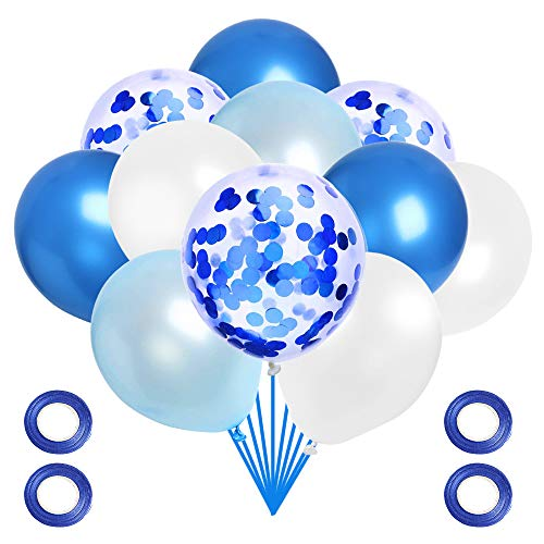 JOCHA 60 Pieces Solid Color Latex Balloons Party Decorative Balloons with 4 Rolls Ribbons for Baby Shower Party Wedding Birthday Decoration (Light Blue, Dark Blue, White)