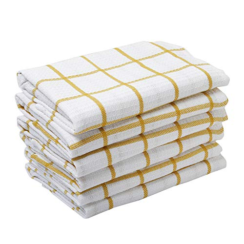 Kitchen Towels, 100% Cotton, Set of 6 Dish Towels of Size 15 X 23 Inch, Highly Absorbent Dish Cloth, Perfect for Cooking, Drying Dishes, and ()