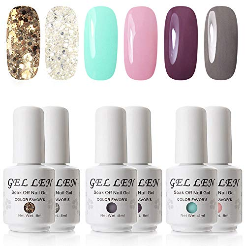 (Gellen UV Gel Polish Full Coverage 6 Colors Pure Glitters Collection)