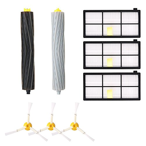Replacement Accessories Kit for Roomba 800 Series 800 805 850 860 870 880 980- Includes 3 Pack Filter, 2 Pack Side Brush, 1 Pack Bristle Brush and Flexible Beater Brush by Alfzero