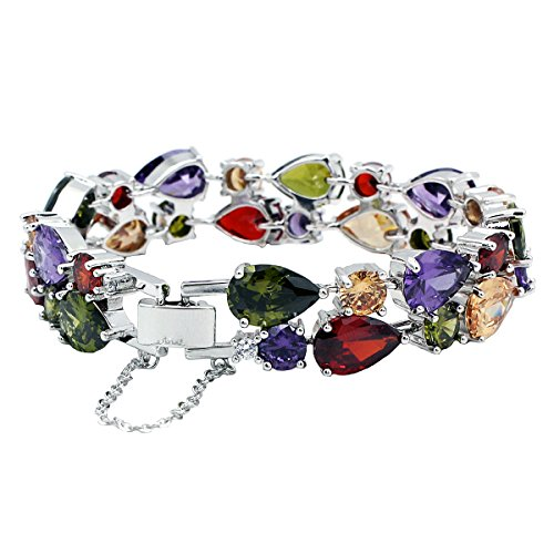 Classic Multi Gemstones Silver Sets, Amethyst Garnet Morganite Peridot 8 inch (Bracelet) from Hermosa