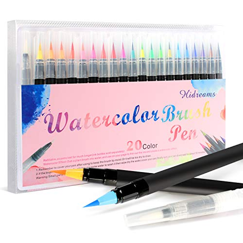 - Hidreams 20 Colors Watercolor Markers Brush Pen Set,Watercolor Brush Pens with Soft Flexible Tip, Water Soluble for Adult Coloring Books Manga Comic