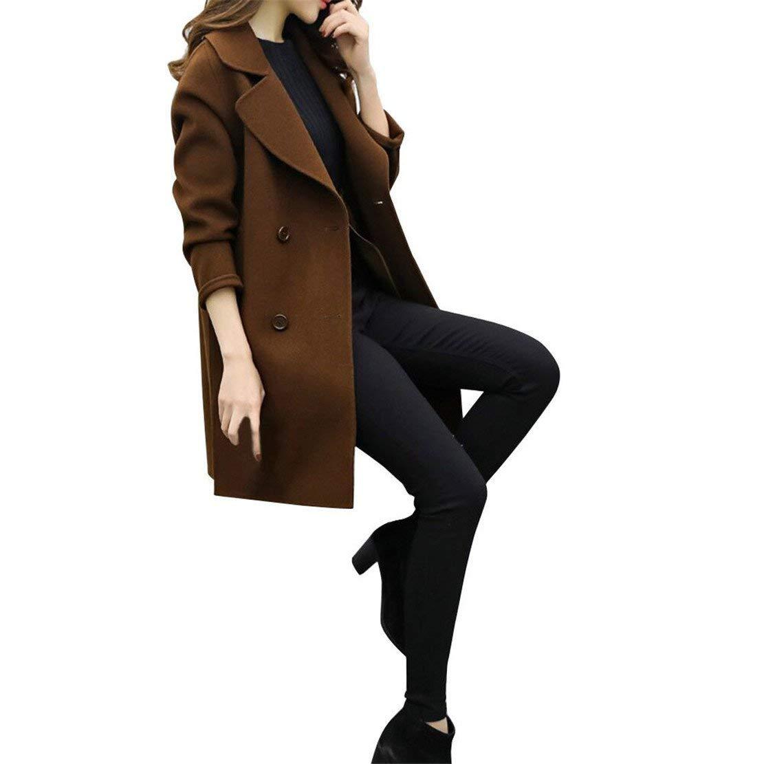 Mose New Women Coat Women Fashion Autumn Winter Jacket Tops Casual Long Sleeve Slim Cardigan Overcoat (Coffee, 2XL) 51tpkFLJMKL