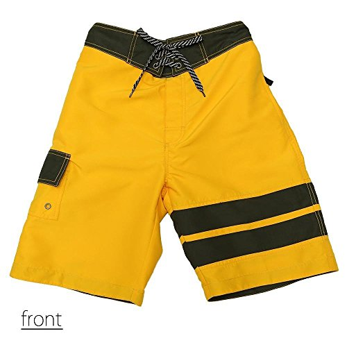 SAFS Men's Board Shorts Double Striped Swim Trunks Quality Features Yellow 4L