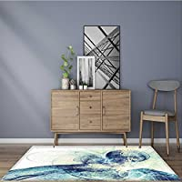 Soft Microfiber Shag Bath Rug abstract blue color toned background dynamic smoke painting texture modern futuristic Mildew Resistant 5 X 8