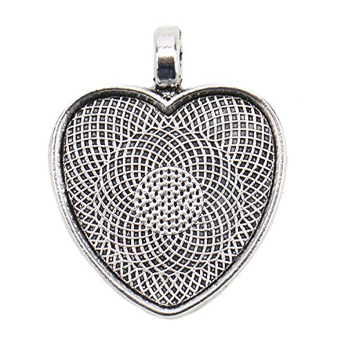 (JETEHO 50PCS 25mm Bezel Pendant Trays Heart Shape Cabochon Settings Trays Pendant Blanks for Jewelry Making,Silver)