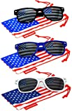 Set of 3 pairs Classic American Patriot Flag Sunglasses USA American Flag Lens Black Blue White Frame OWL