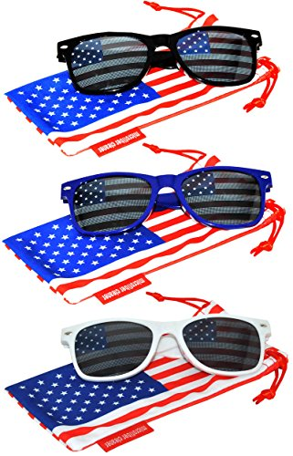 Set of 3 pairs Classic American Patriot Flag Sunglasses USA American Flag Lens Black Blue White Frame OWL by OWL