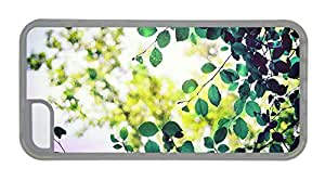 Customized indestructible iphone 5C case Green leaves sunlight bokeh TPU Transparent for Apple iPhone 5C