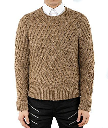 wiberlux-neil-barrett-mens-weave-knit-pattern-round-neck-sweater-l-dark-beige