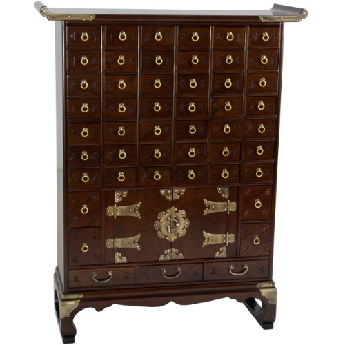 Oriental Furniture Korean Antique Style 49 Drawer Apothecary Chest (Small Apothecary Chest)
