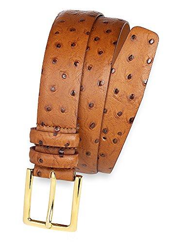 Paul Fredrick Men's Italian Leather Embossed Ostrich Belt Tan 38
