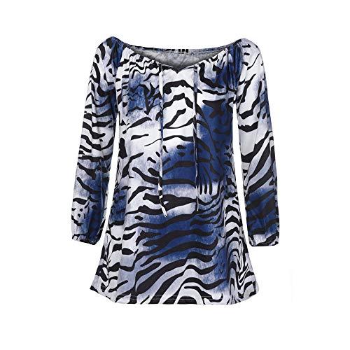 Sunhusing Women's Off-Shoulder V-Neck Leopard Print Long-Sleeved Button-Down T-Shirt Irregular Top