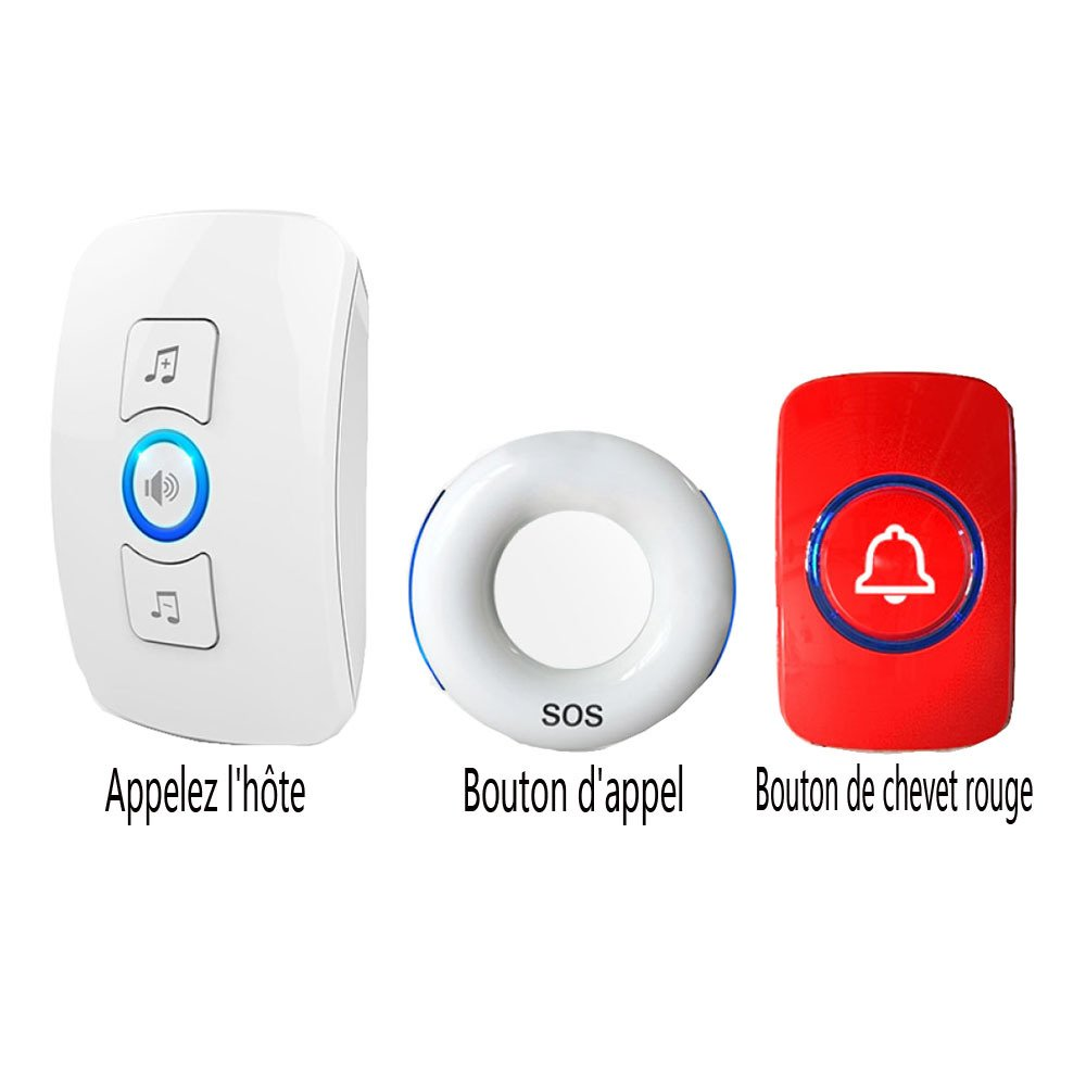 GEXING Bed Room Long-distance Night Welfare Home Elderly Pager Lanyard Smart Home Bed Medical Pager,White+RedBedsideButtons