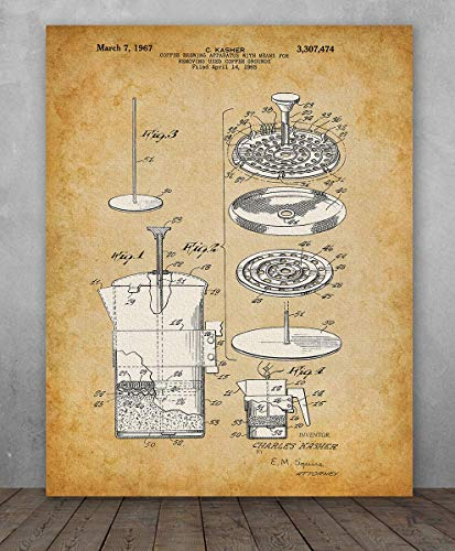 Poster - Coffee Press Patent - Choose Unframed Poster or Canvas - Great Kitchen or Coffee Shop Decor ()