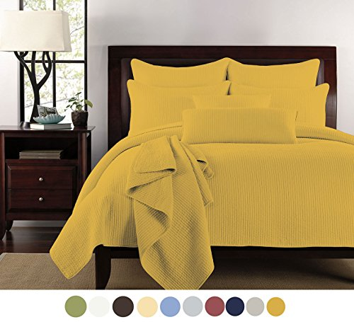 Eastend Home Fashions Half inch Vertical line Microfiber Quilt Set, King, Spicy Mustard