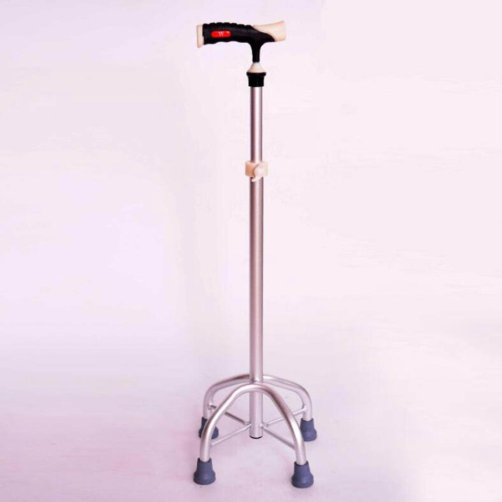 CW&T WW Medical Crutches Adjustable Stainless Steel Non-Slip Rehabilitation Aids Four-Foot Crutches, Silver