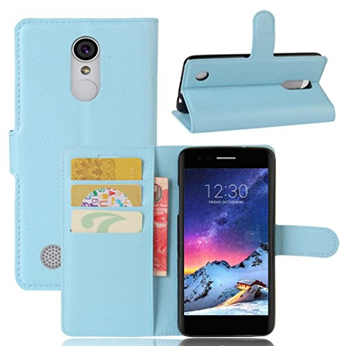 Blue Sky Carrier (Coohole Luxury Flip Leather Wallet Case Skin Cover For LG K4 2017 (US Carrier Availability) (Sky Blue))