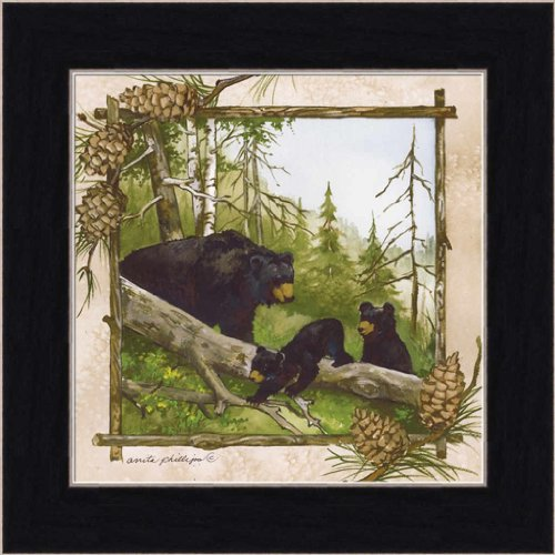 Black Bear Hollow Mother and Cubs 7.5x7.5 Framed Art Print Picture by Anita (Hollow Bear)