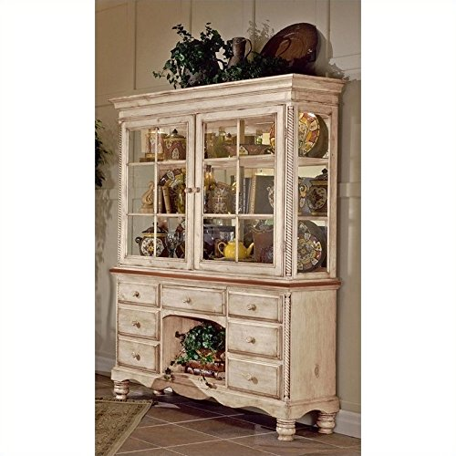 Hillsdale Wilshire Wood - Hillsdale Furniture Wilshire Antique White Finish Wood Buffet and Hutch