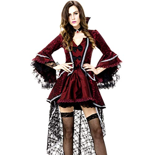TINGSHOP Party Costume Dress Womens Vampiress Rococo Victorian Dress Masquerade Ball Gown Long Halloween Fancy Women's Costume Red and Black Vintage Lace Satin Long Sleeve Ball Gown]()
