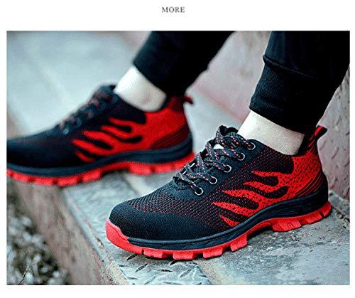Zapatillas Unisex Acero Wasnton S3 Hombre Rojo01 Ranspirables Comodas Antideslizante Zapatos Trabajo Seguridad Senderismo De Mujer Puntera Entrenador Deportivos Ligeras Con 88O5qE