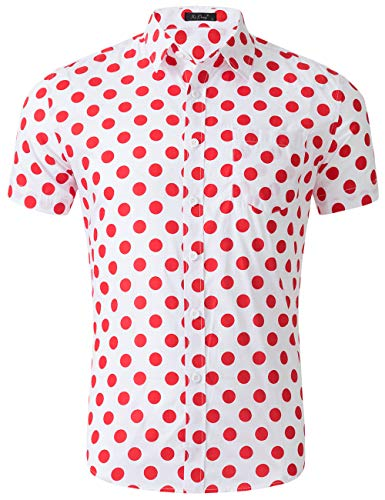 (XI PENG Men's Casual Dress Cotton Polka Dots Short Sleeve Fitted Button Down Shirts (X-Large, Big Polka Dot Red)