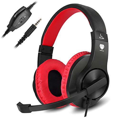 Gaming Headset, Kearui 3.5mm Wired Stereo Sound Over Ear [ One Key Mute ] Headphones with Noise Isolation Mic for Laptop/Tablet/Mobile Phones/PS4/Xbox one (Black & Red)
