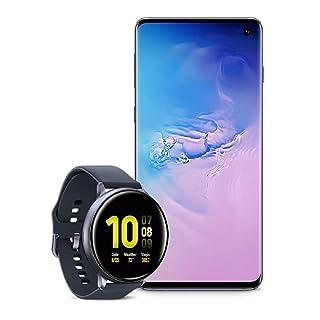 Samsung Galaxy S10 Factory Unlocked Phone with 128GB (U.S. Warranty), Prism Blue - SM-G973UZBAXAA w/Samsung Galaxy Watch Active2 (44mm), Aqua Black - US Version with Warranty