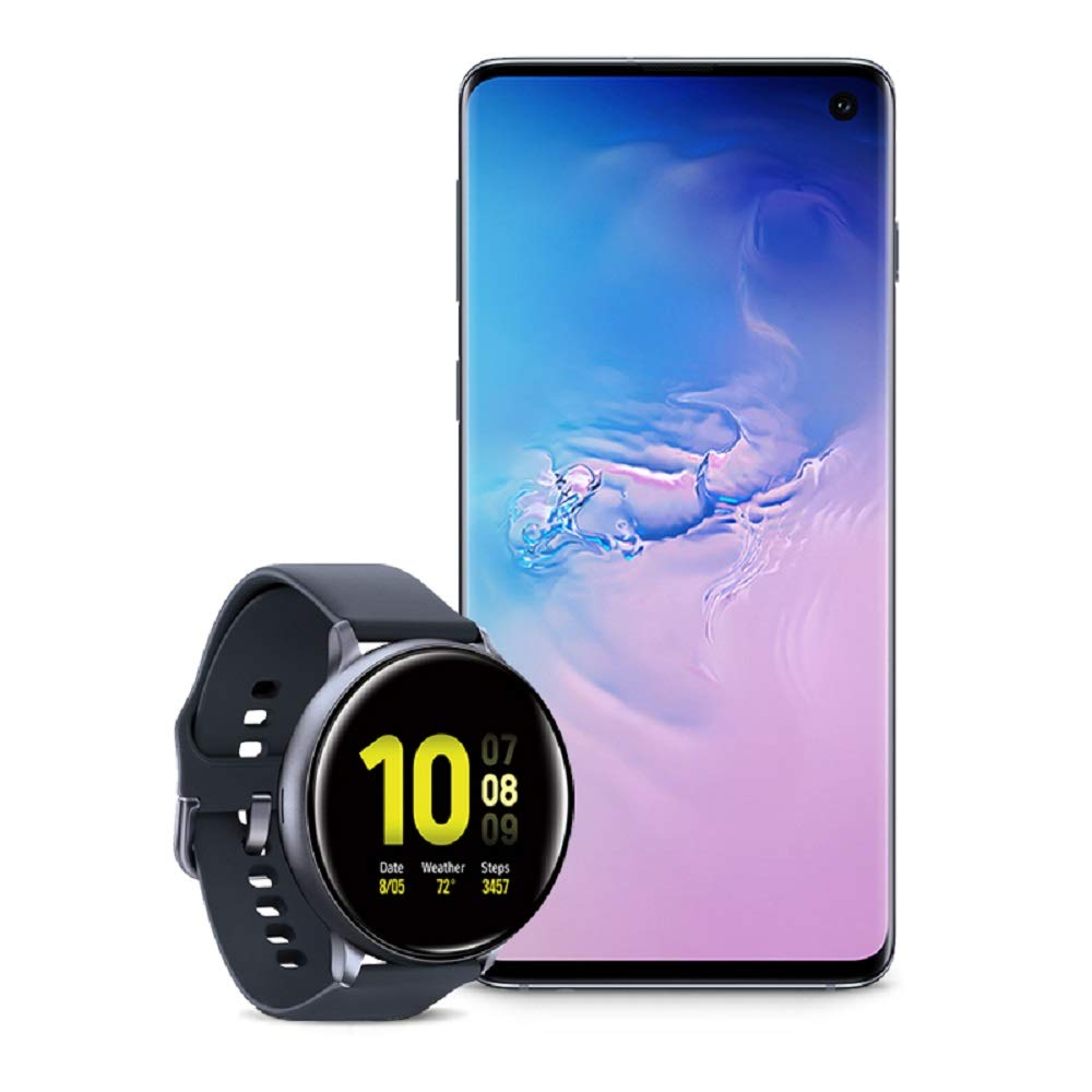 Samsung Galaxy S10 Factory Unlocked Phone with 128GB (U.S. Warranty), Prism Blue - SM-G973UZBAXAA w/Samsung Galaxy Watch Active2 (44mm), Aqua Black - US Version with Warranty