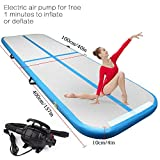 9.84ft/13.12ft/16.4ft/19.68ft/3.28ft air track tumbling mat inflatable gymnastics airtrack with Electric Air Pump for Practice Gymnastics, Tumbling,Parkour, Home Floor and Martial Arts (Blue, 13.2)