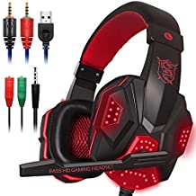 Gaming Headset with Mic and LED Light for Laptop Computer, Cellphone, PS4 and the New Xbox One, DLAND 3.5mm Wired Noise Isolation Gaming Headphones - Volume Control.( Black and Red )