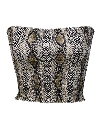 (KalyChic Womens Summer Casual Strapless Pleated Print Bandeau Tube Crop Tops Snake_Multi M)