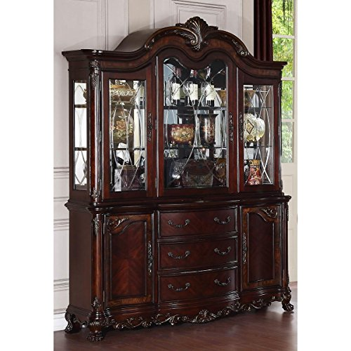 (HEFX Dublin China Cabinet in Warm Cherry - Colonial, Claw Feet, Wood Carving)