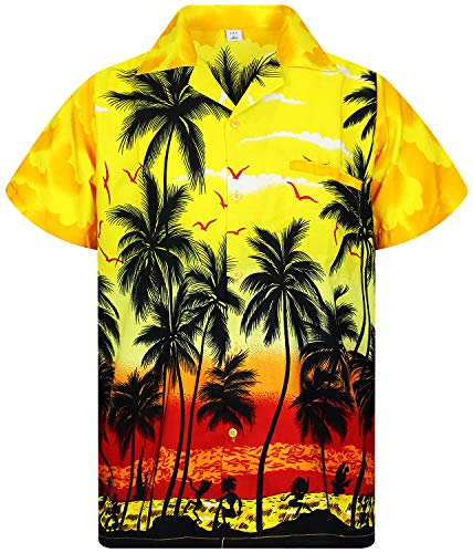 V.H.O. Funky Hawaiian Shirt, Shortsleeve, Beach, Yellow, 6XL