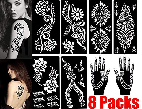 Henna Tattoo Stencils (Pack of 8) Self Adhesive Body Paint Designs Temporary Mehndi Drawing Hand Arms Shoulders Chest Lower Back Legs Tribal Template