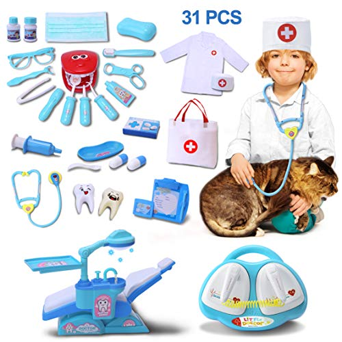 VIAME Toy Medical Set Doctor Kit for Kids | 31 Pcs Doctor Toys Including Dentist Toys Kit ● Jumbo Children Play Set with Stethoscope Cardiac Pacemaker and Dental Unit Chair]()