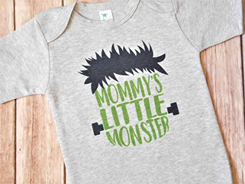 Baby Bodysuit - Mommy's Little Monster - Halloween Outfit for Babies - Gray, 12 to 18 Months -