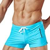 Mens Swim Trunks Square Leg Swimming Boxer Briefs Beach Shorts Swimsuits with Pocket (XL, Sky Blue)