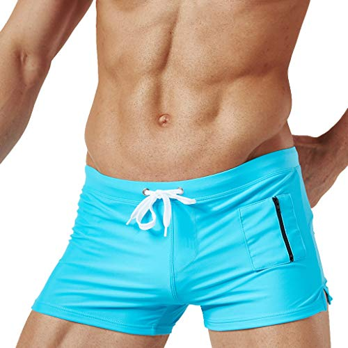 df35334418 Mens Swim Trunks Square Leg Swimming Boxer Briefs Beach Shorts Swimsuits  with Pocket (XL,