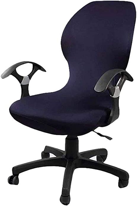 Deisy Dee Computer Office Chair Covers Pure Color Universal Chair Cover Stretch Rotating Chair Slipcovers Cover ONLY Chair Covers C098 (Navy Blue)